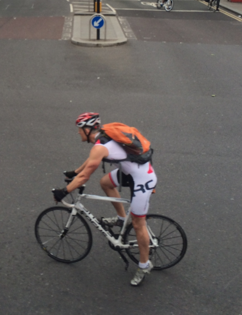 White Tri Suit near Waterloo Station