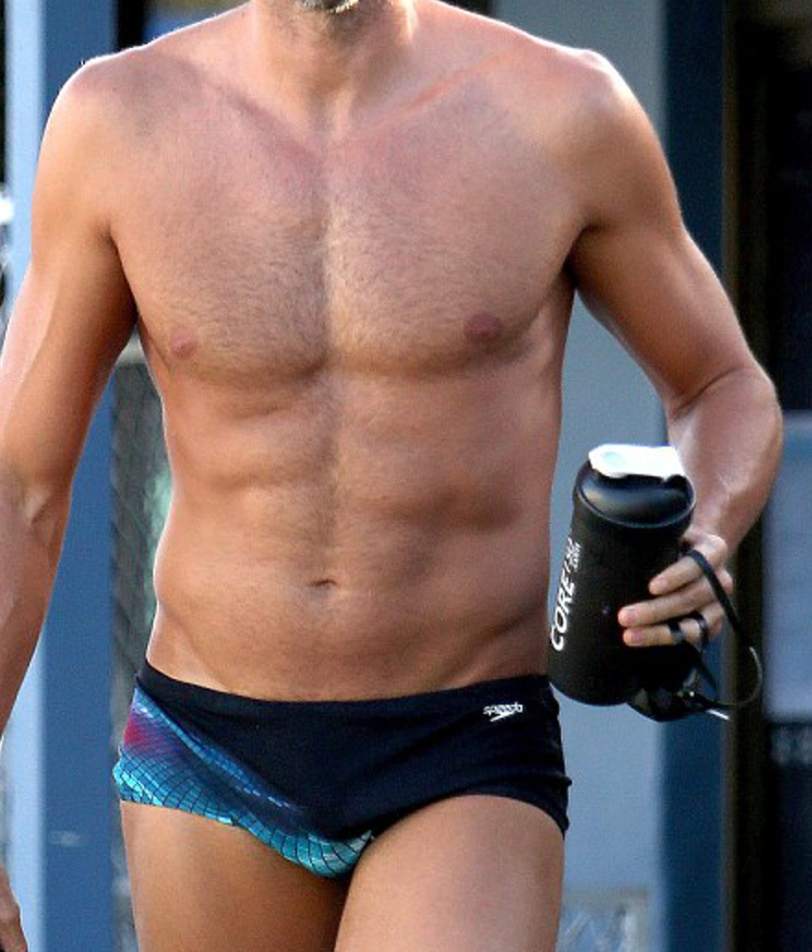 Reader in black Speedo